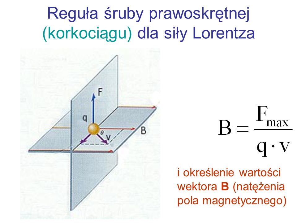 Reguła śruby prawoskrętnej (korkociągu) dla siły Lorentza
