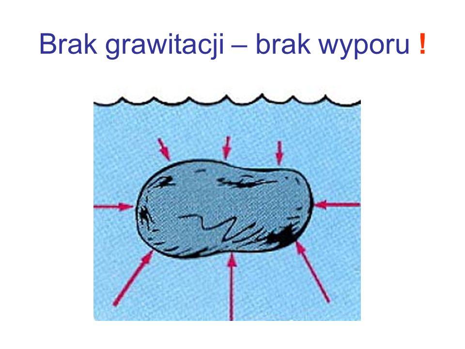 Brak grawitacji – brak wyporu !