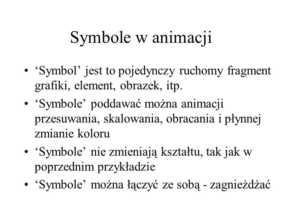 Symbole w animacji 'Symbol' jest to pojedynczy ruchomy fragment grafiki, element, obrazek, itp.