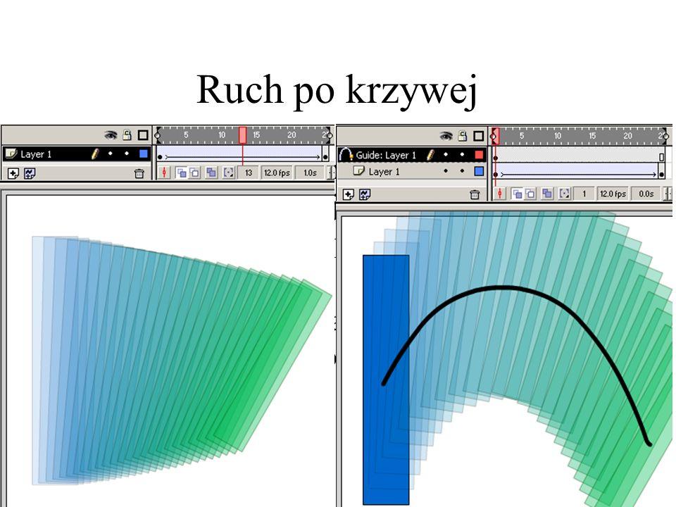 Ruch po krzywej W przypadku wcześniejszym środek obiektu przesuwany jest idealnie po linii prostej od położenia pierwszego do końcowego.
