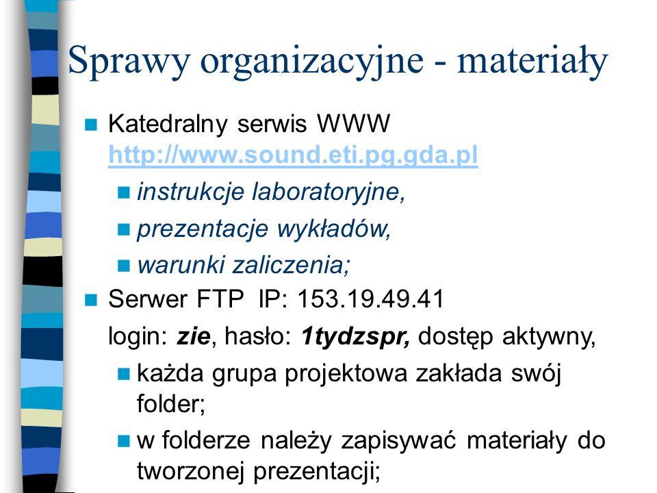 Sprawy organizacyjne - materiały