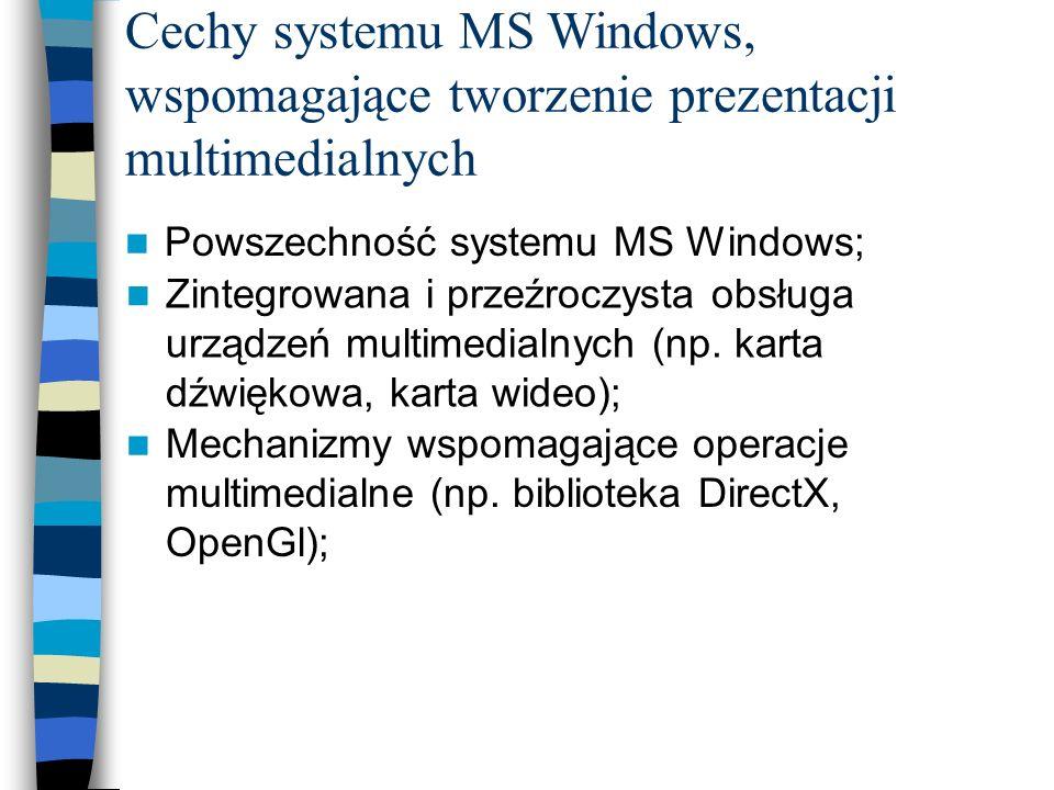 Cechy systemu MS Windows, wspomagające tworzenie prezentacji multimedialnych