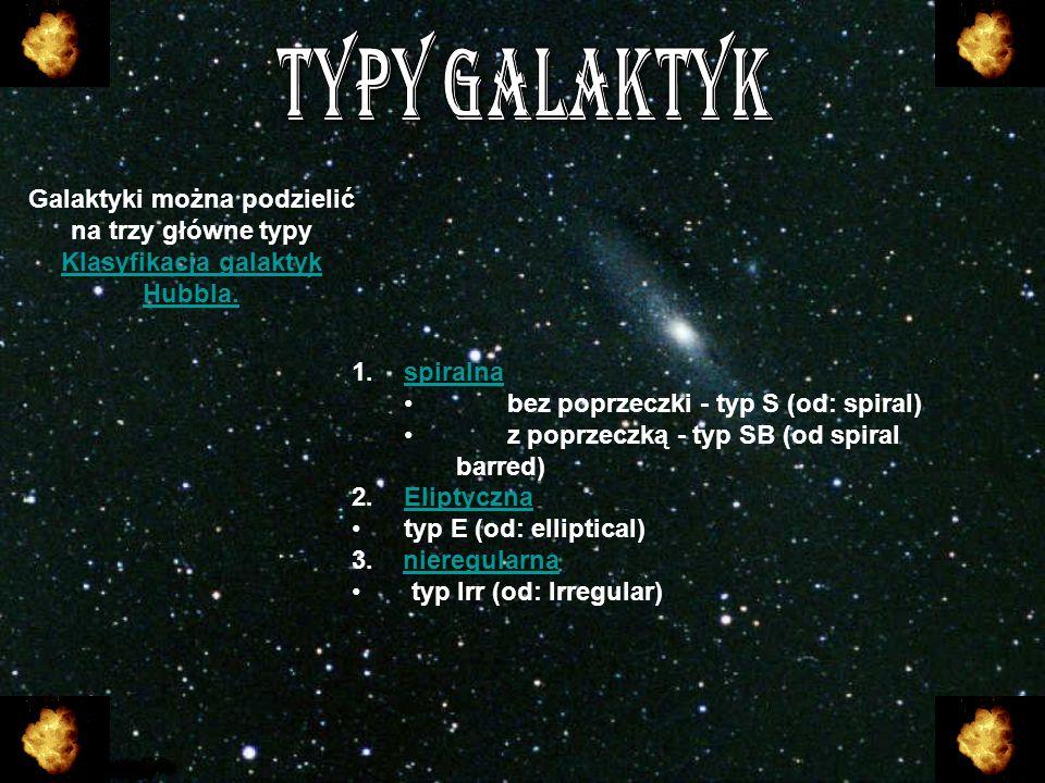 TYPY GALAKTYKGalaktyki można podzielić na trzy główne typy Klasyfikacja galaktyk Hubbla. spiralna. bez poprzeczki - typ S (od: spiral)