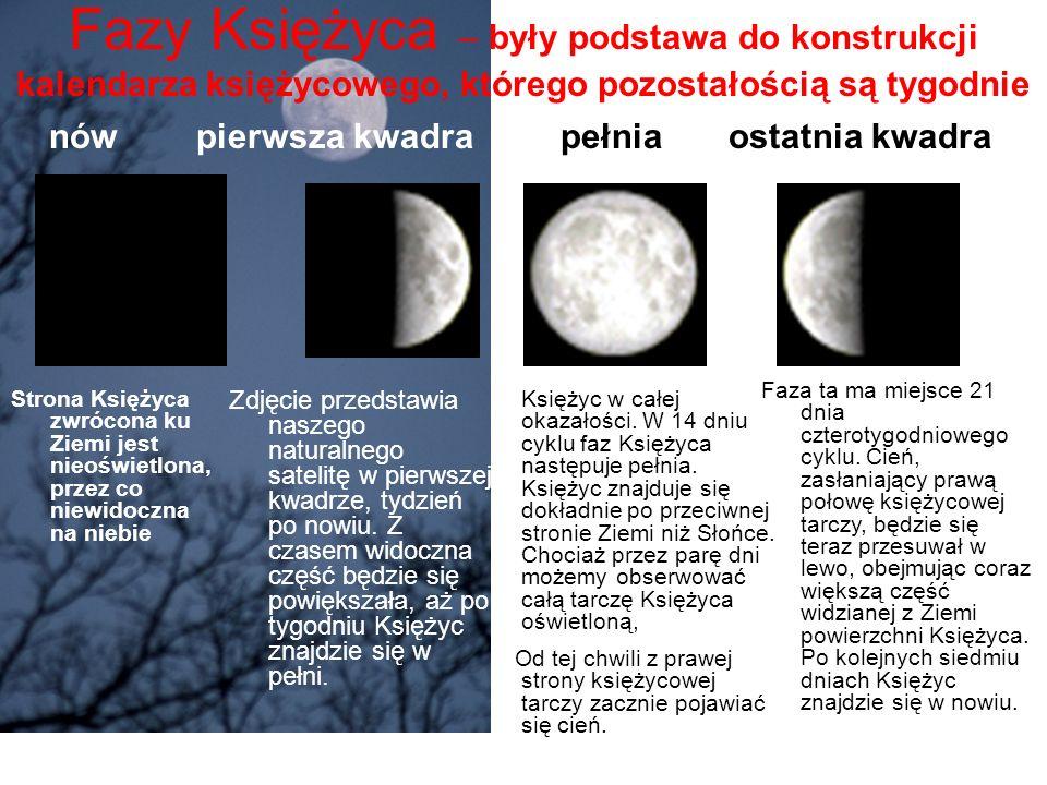 Fazy Księżyca – były podstawa do konstrukcji kalendarza księżycowego, którego pozostałością są tygodnie