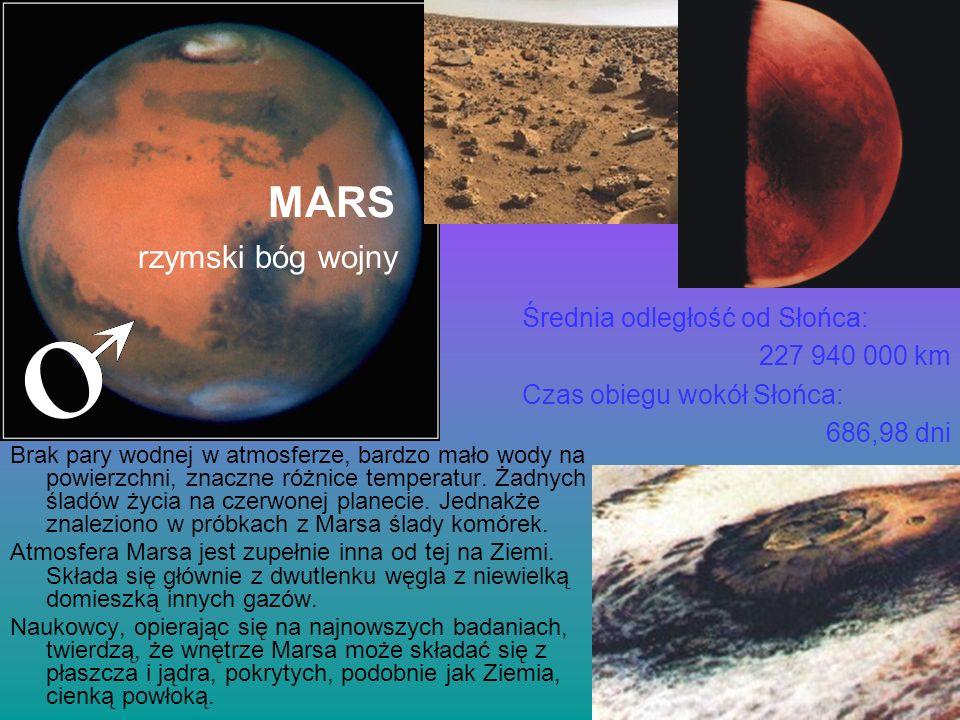 MARS rzymski bóg wojny Średnia odległość od Słońca: 227 940 000 km