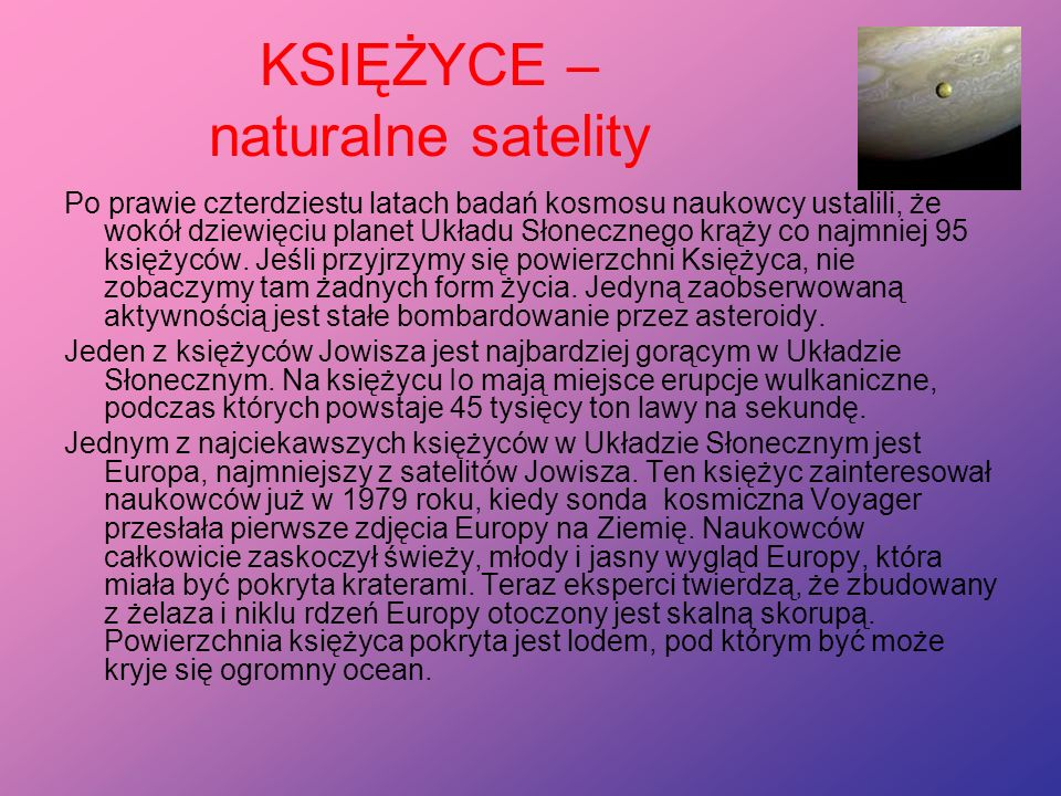 KSIĘŻYCE – naturalne satelity