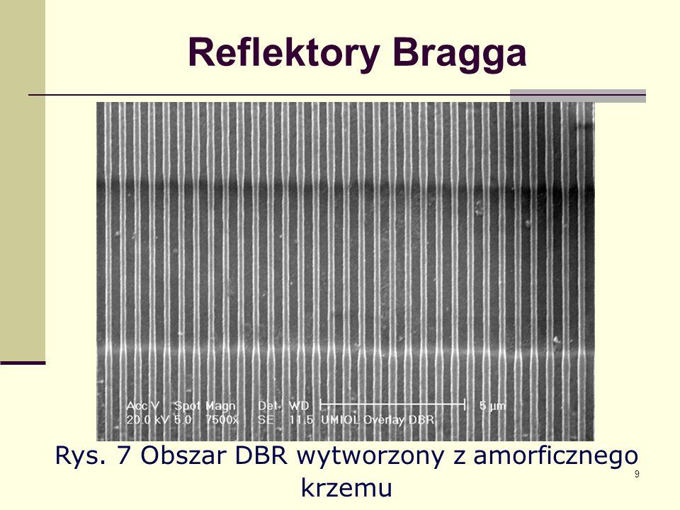 Rys. 7 Obszar DBR wytworzony z amorficznego krzemu