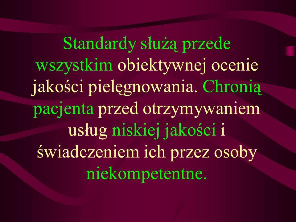 Standardy służą przede wszystkim obiektywnej ocenie jakości pielęgnowania.
