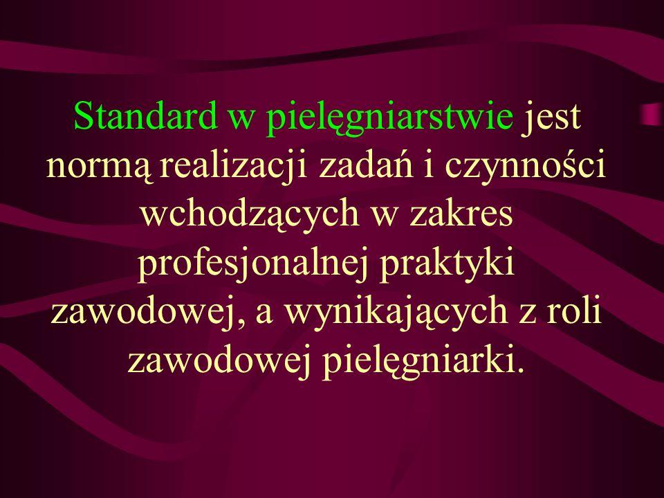 Standard w pielęgniarstwie jest normą realizacji zadań i czynności wchodzących w zakres profesjonalnej praktyki zawodowej, a wynikających z roli zawodowej pielęgniarki.
