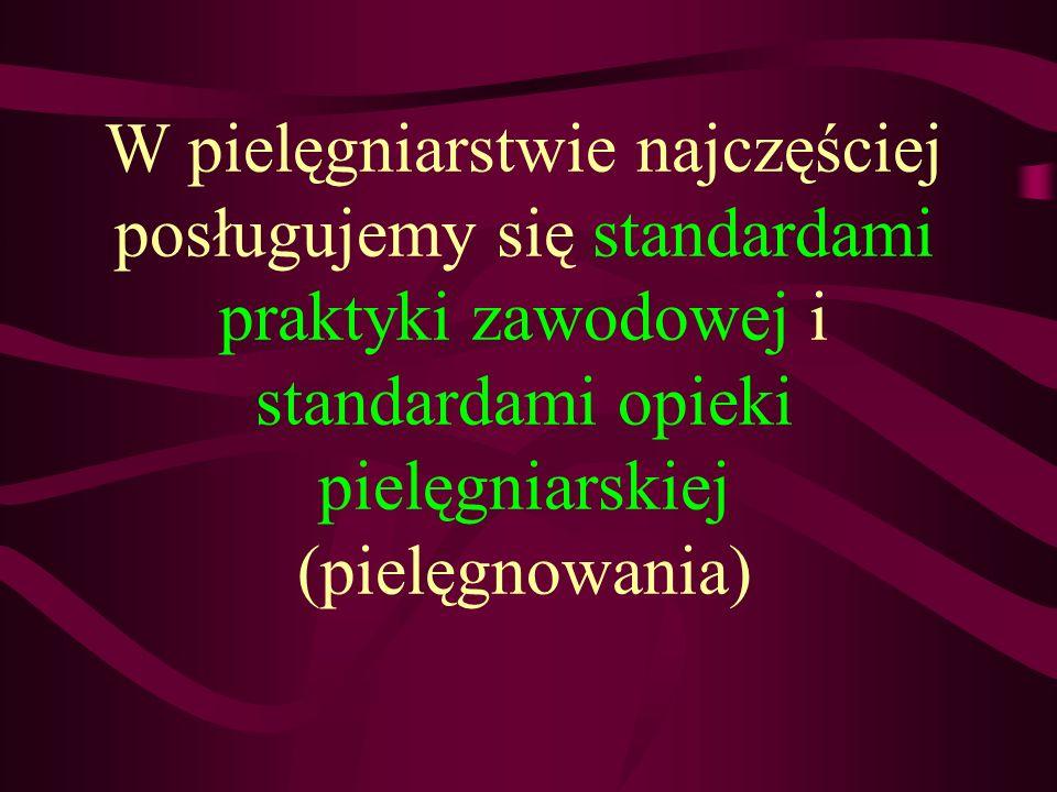 W pielęgniarstwie najczęściej posługujemy się standardami praktyki zawodowej i standardami opieki pielęgniarskiej (pielęgnowania)