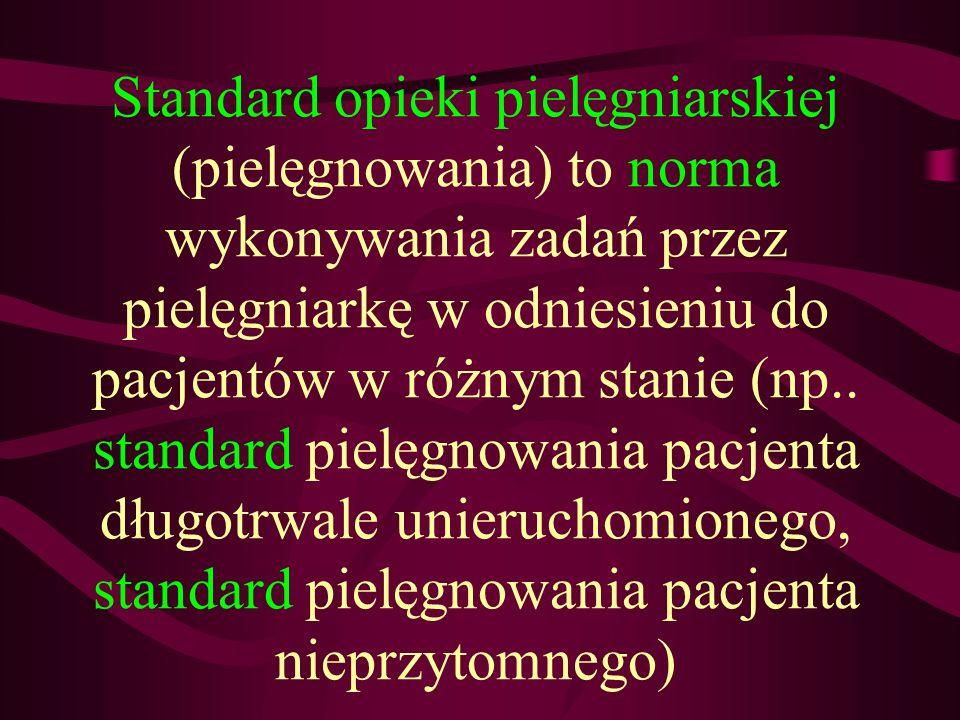 Standard opieki pielęgniarskiej (pielęgnowania) to norma wykonywania zadań przez pielęgniarkę w odniesieniu do pacjentów w różnym stanie (np..