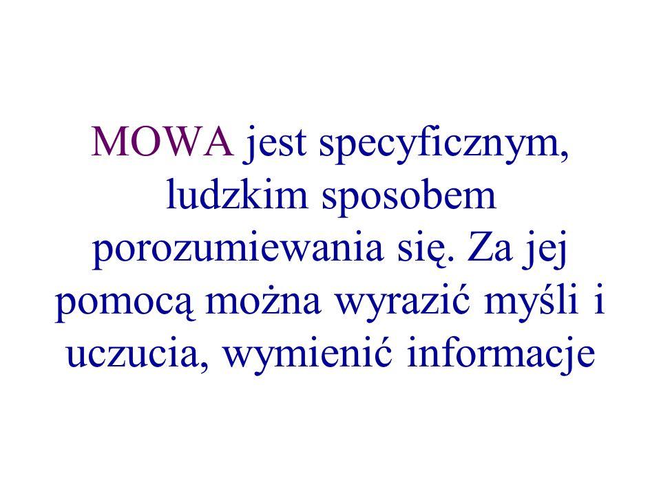 MOWA jest specyficznym, ludzkim sposobem porozumiewania się