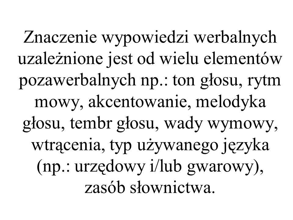 Znaczenie wypowiedzi werbalnych uzależnione jest od wielu elementów pozawerbalnych np.: ton głosu, rytm mowy, akcentowanie, melodyka głosu, tembr głosu, wady wymowy, wtrącenia, typ używanego języka (np.: urzędowy i/lub gwarowy), zasób słownictwa.