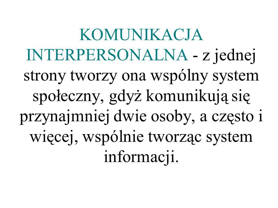 KOMUNIKACJA INTERPERSONALNA - z jednej strony tworzy ona wspólny system społeczny, gdyż komunikują się przynajmniej dwie osoby, a często i więcej, wspólnie tworząc system informacji.