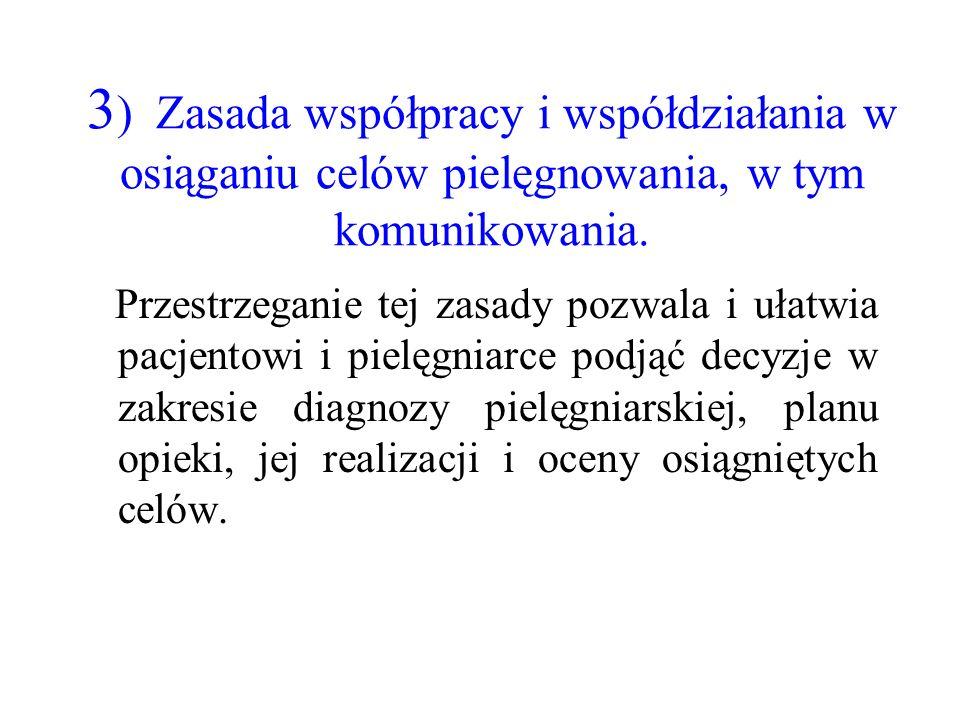 3) Zasada współpracy i współdziałania w osiąganiu celów pielęgnowania, w tym komunikowania.