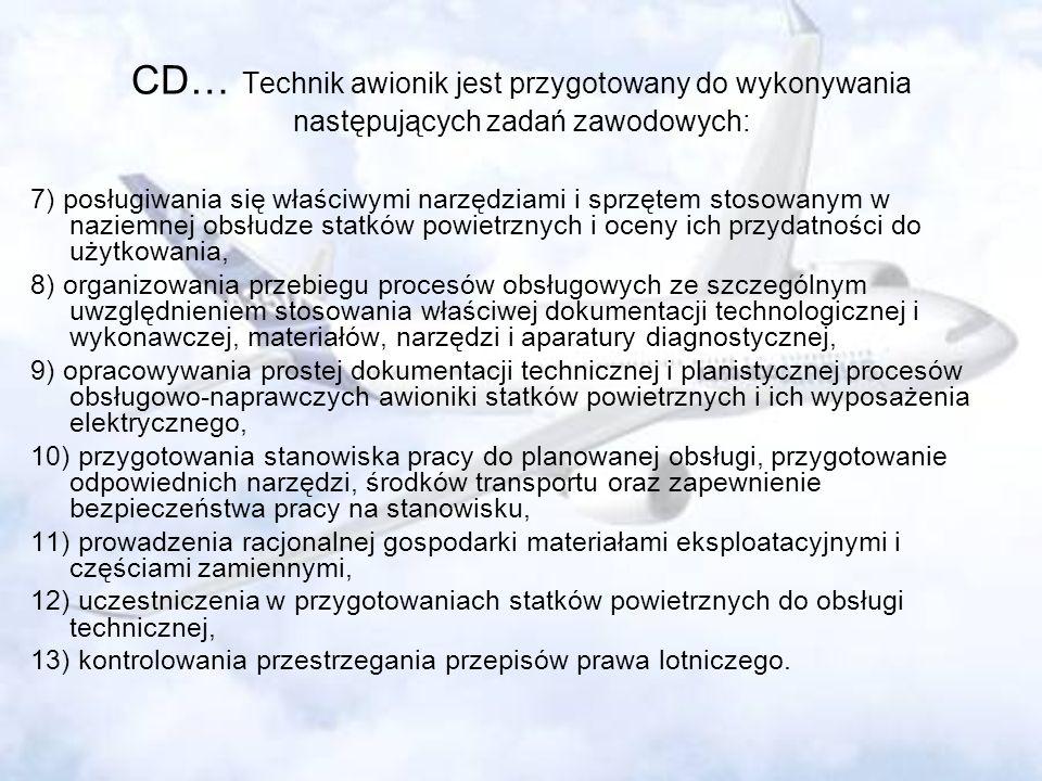 CD… Technik awionik jest przygotowany do wykonywania następujących zadań zawodowych: