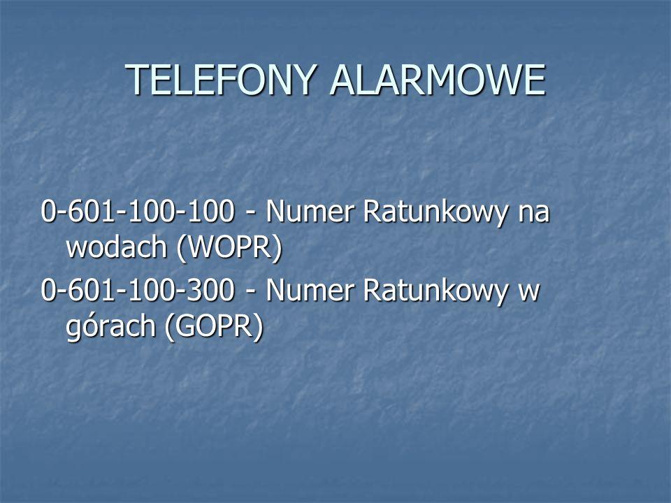 TELEFONY ALARMOWE 0-601-100-100 - Numer Ratunkowy na wodach (WOPR)