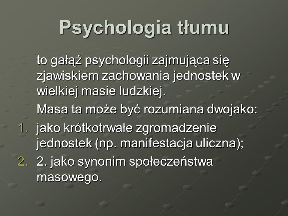 Psychologia tłumu to gałąź psychologii zajmująca się zjawiskiem zachowania jednostek w wielkiej masie ludzkiej.