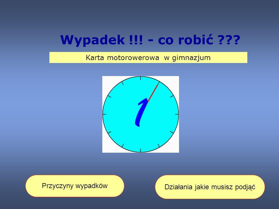 Wypadek !!! - co robić Karta motorowerowa w gimnazjum