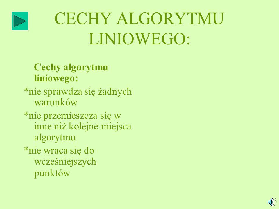 CECHY ALGORYTMU LINIOWEGO: