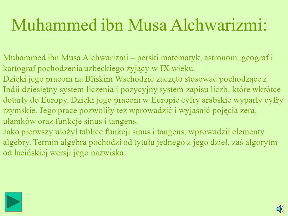 Muhammed ibn Musa Alchwarizmi: