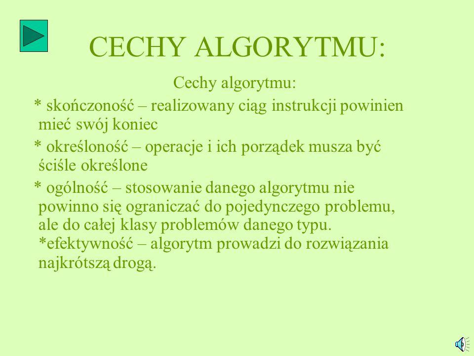 CECHY ALGORYTMU: Cechy algorytmu: