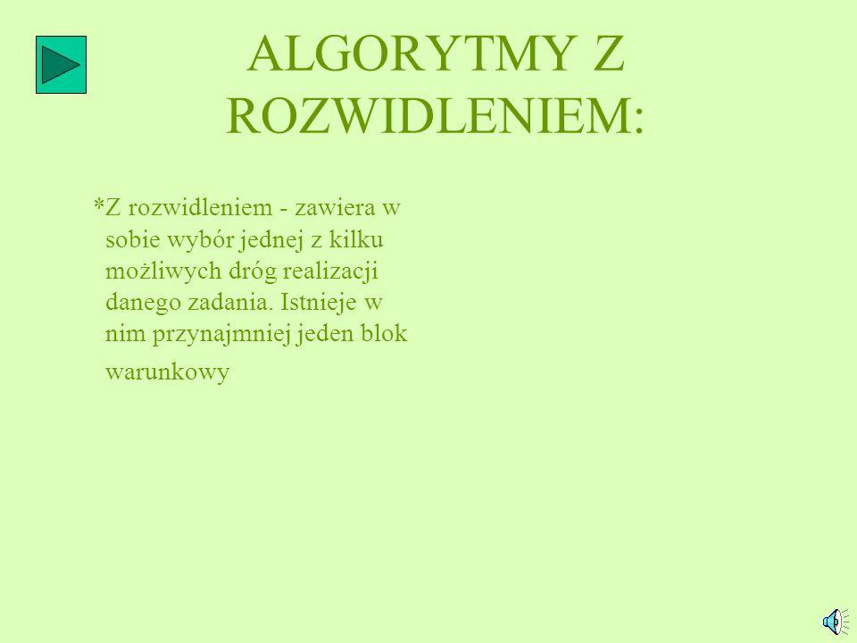 ALGORYTMY Z ROZWIDLENIEM: