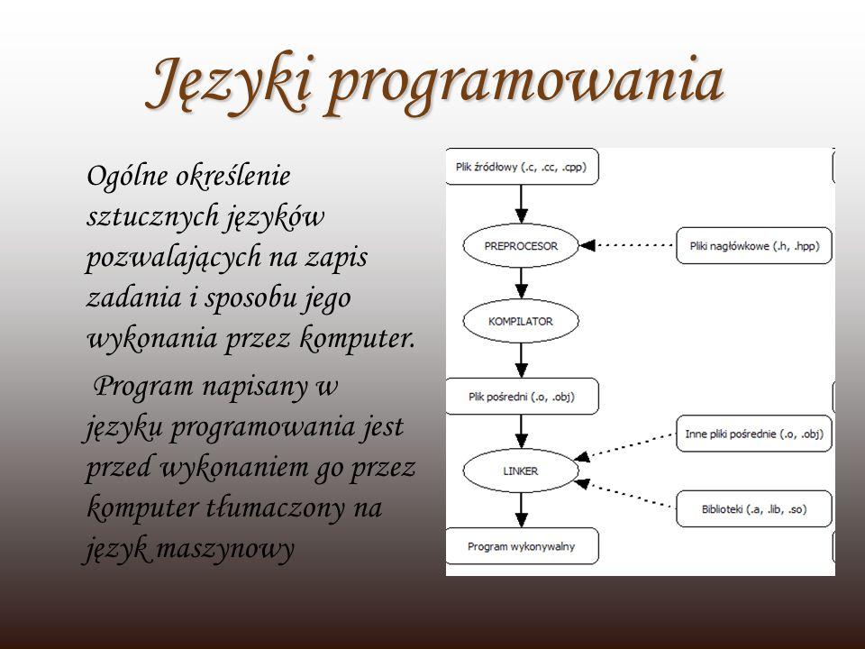 Języki programowaniaOgólne określenie sztucznych języków pozwalających na zapis zadania i sposobu jego wykonania przez komputer.