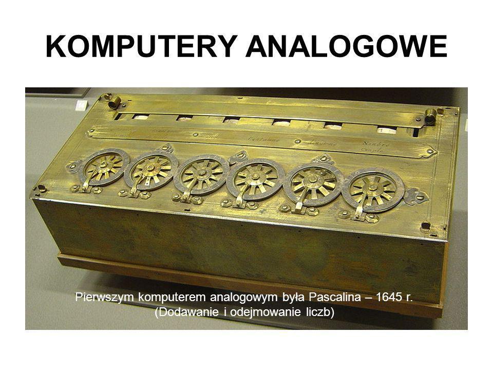 KOMPUTERY ANALOGOWE Pierwszym komputerem analogowym była Pascalina – 1645 r.