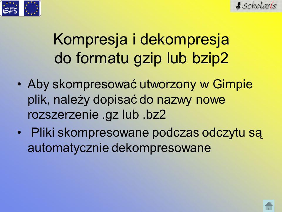 Kompresja i dekompresja do formatu gzip lub bzip2