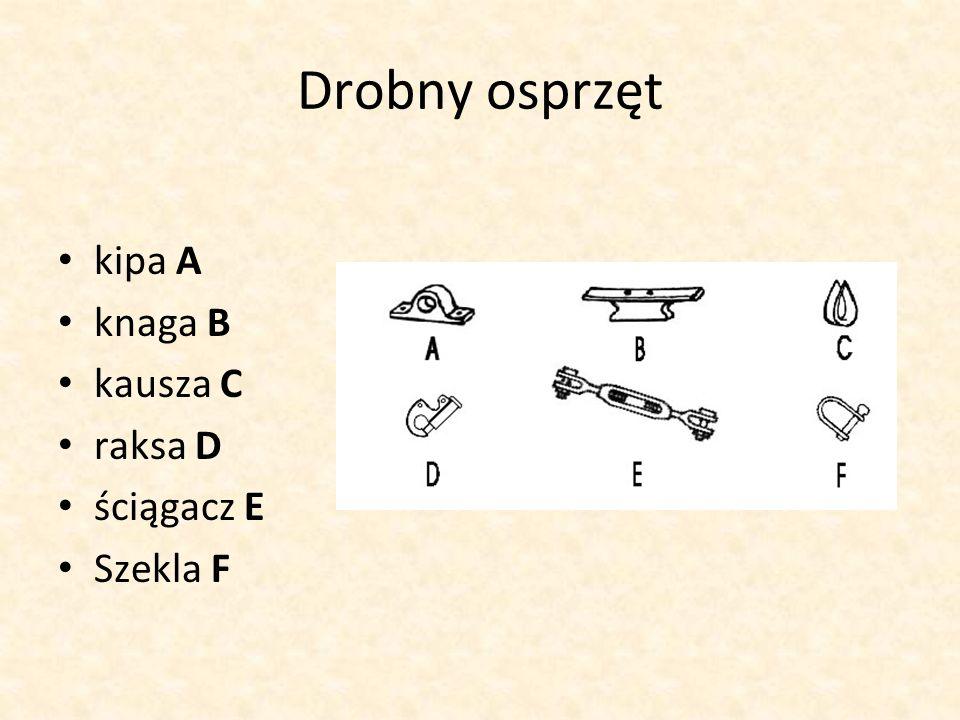 Drobny osprzęt kipa A knaga B kausza C raksa D ściągacz E Szekla F