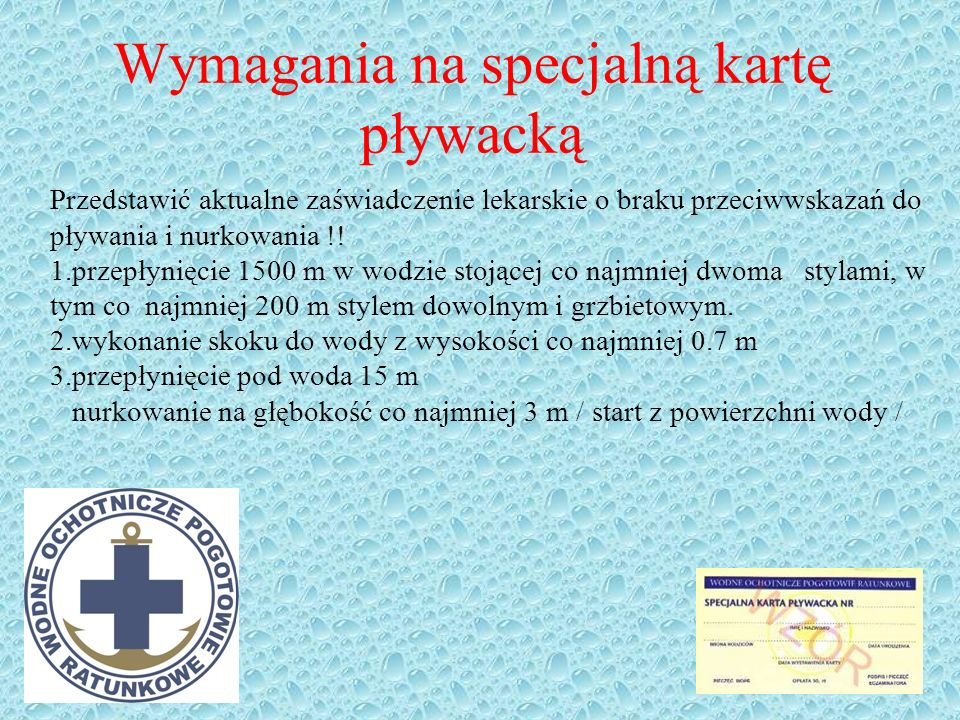 Wymagania na specjalną kartę pływacką