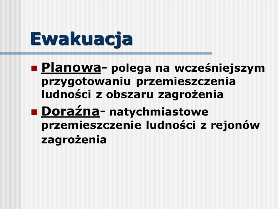 Ewakuacja Planowa- polega na wcześniejszym przygotowaniu przemieszczenia ludności z obszaru zagrożenia.