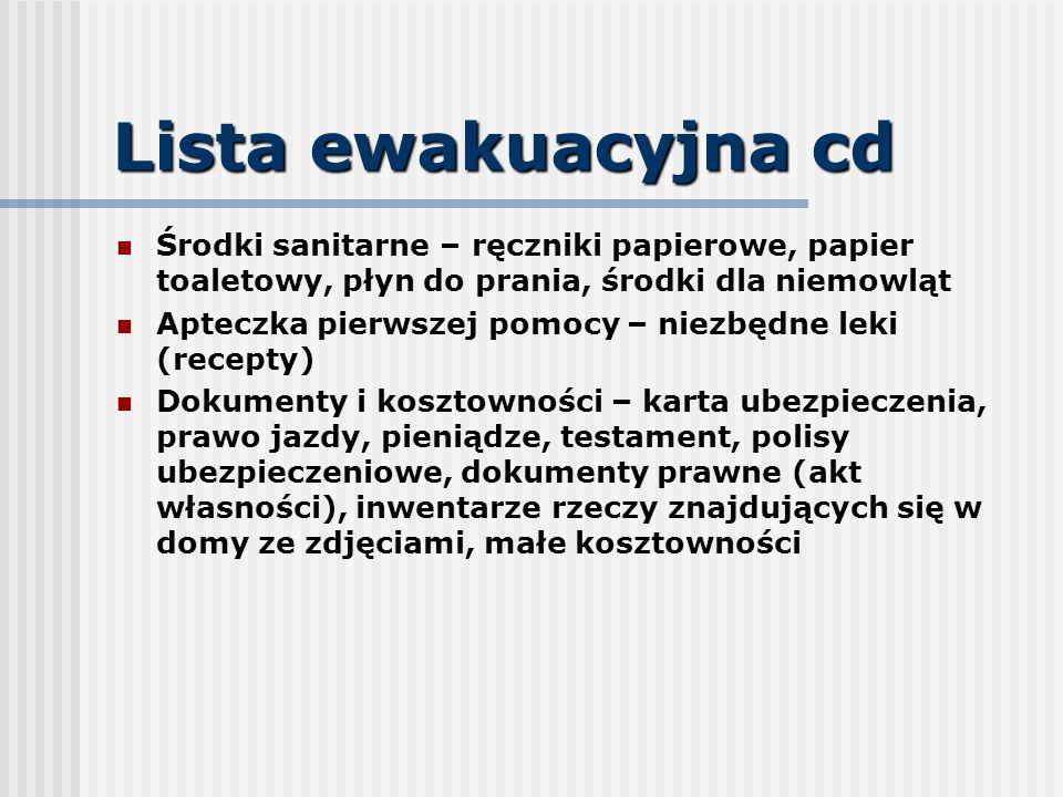 Lista ewakuacyjna cd Środki sanitarne – ręczniki papierowe, papier toaletowy, płyn do prania, środki dla niemowląt.
