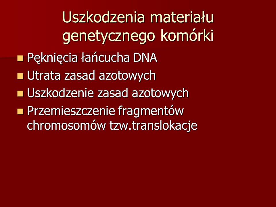 Uszkodzenia materiału genetycznego komórki