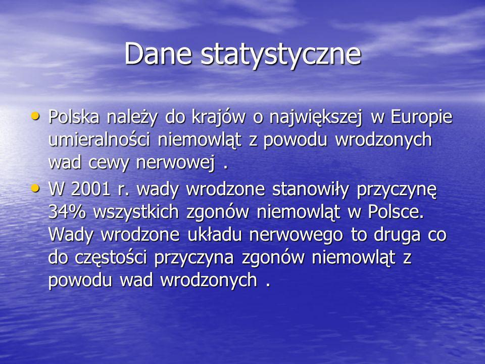 Dane statystyczne Polska należy do krajów o największej w Europie umieralności niemowląt z powodu wrodzonych wad cewy nerwowej .