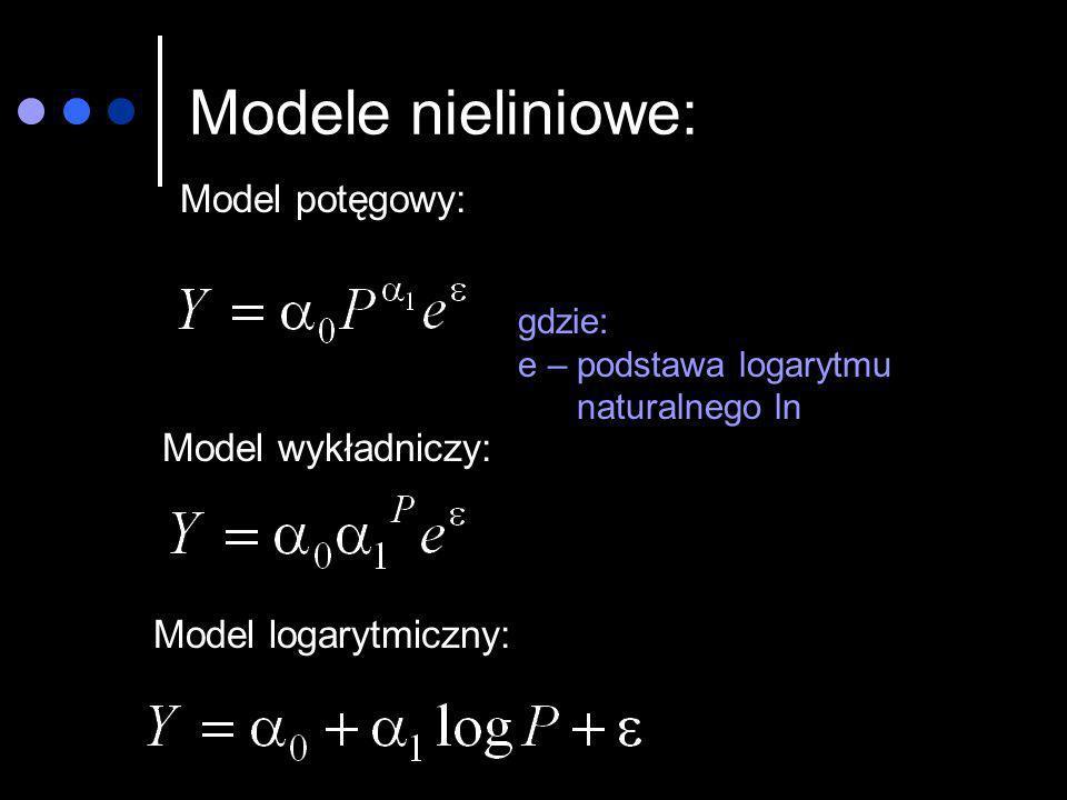 Modele nieliniowe: Model potęgowy: Model wykładniczy: