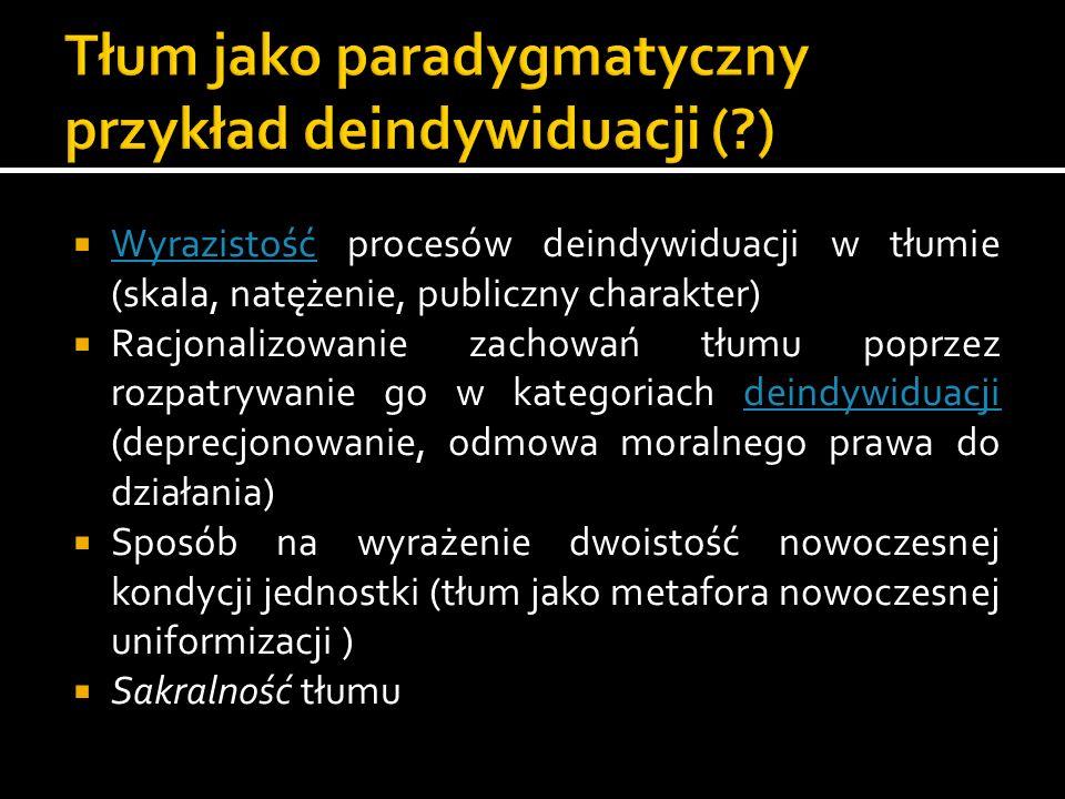 Tłum jako paradygmatyczny przykład deindywiduacji ( )