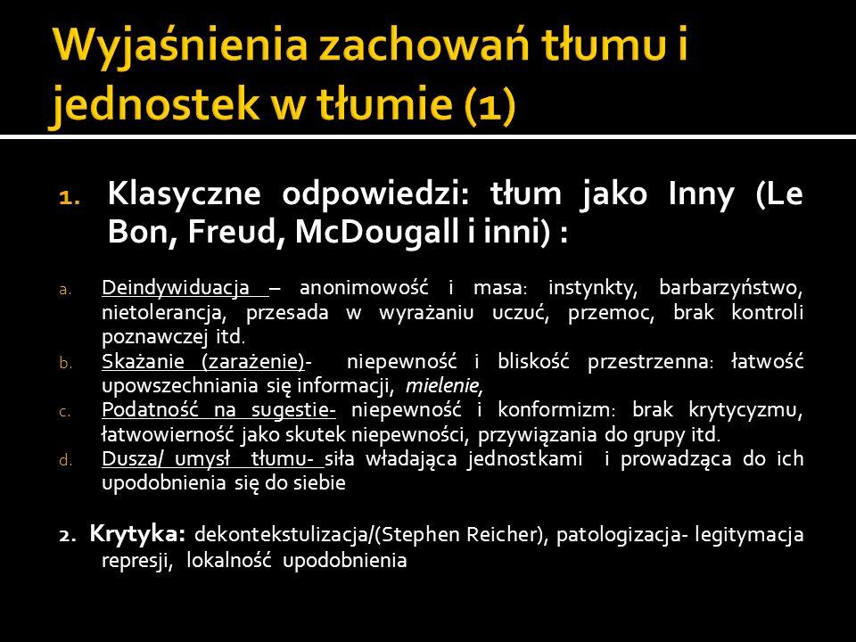 Wyjaśnienia zachowań tłumu i jednostek w tłumie (1)