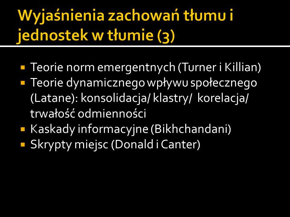 Wyjaśnienia zachowań tłumu i jednostek w tłumie (3)