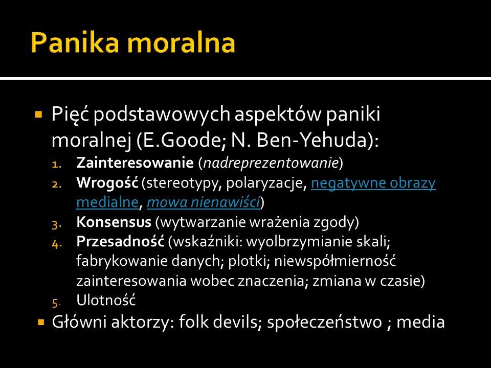 Panika moralna Pięć podstawowych aspektów paniki moralnej (E.Goode; N. Ben-Yehuda): Zainteresowanie (nadreprezentowanie)