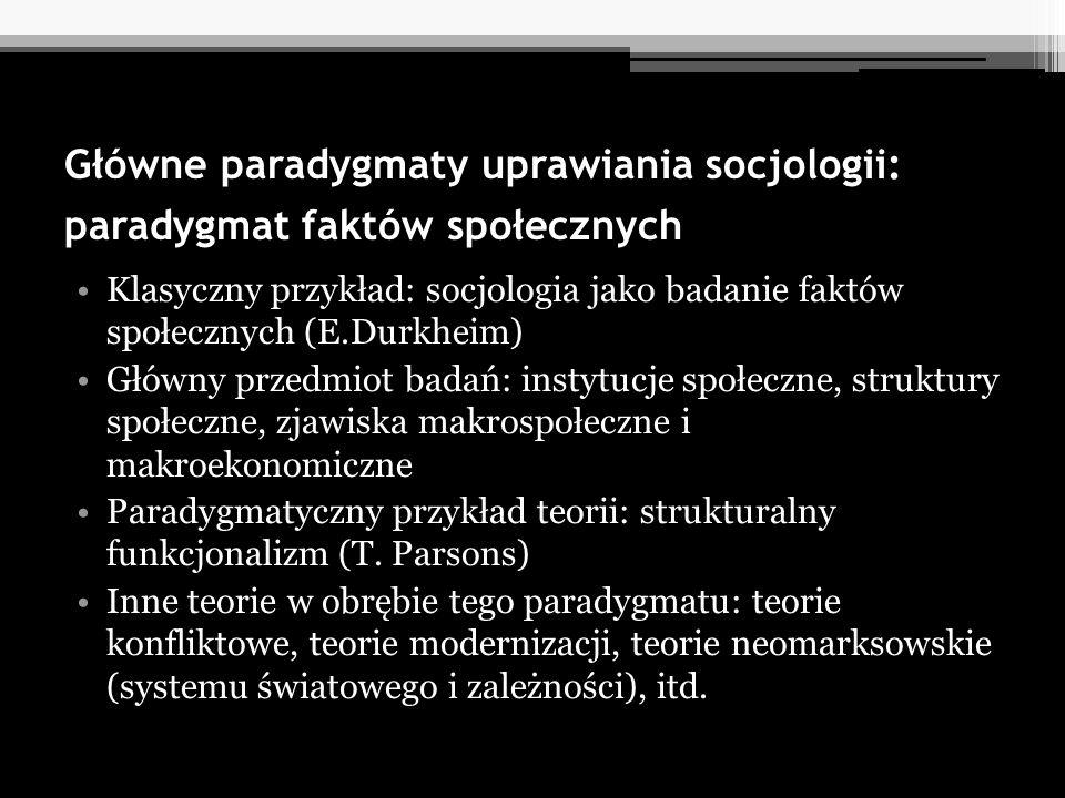 Główne paradygmaty uprawiania socjologii: paradygmat faktów społecznych