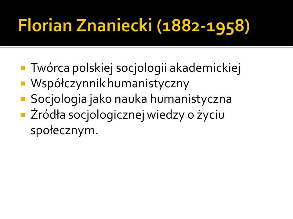 Florian Znaniecki (1882-1958) Twórca polskiej socjologii akademickiej