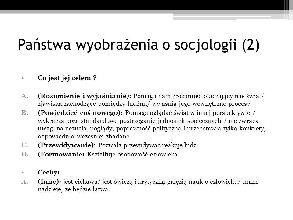 Państwa wyobrażenia o socjologii (2)