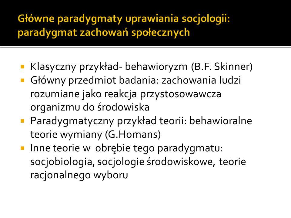 Główne paradygmaty uprawiania socjologii: paradygmat zachowań społecznych