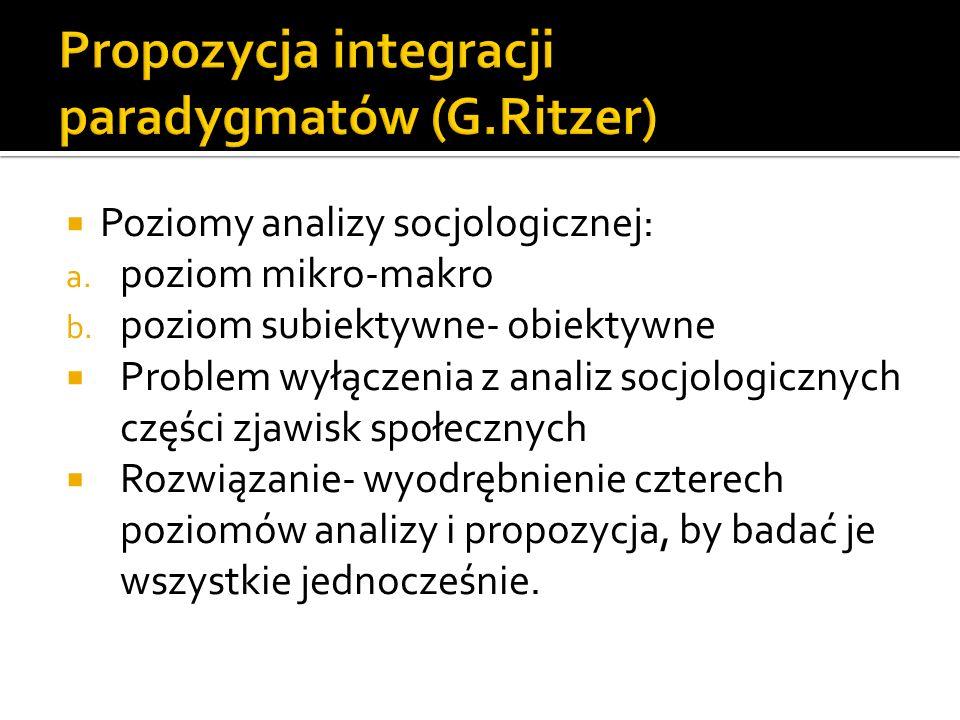 Propozycja integracji paradygmatów (G.Ritzer)