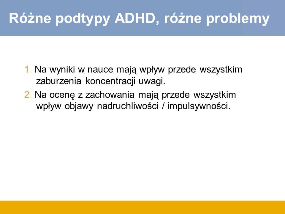 Różne podtypy ADHD, różne problemy