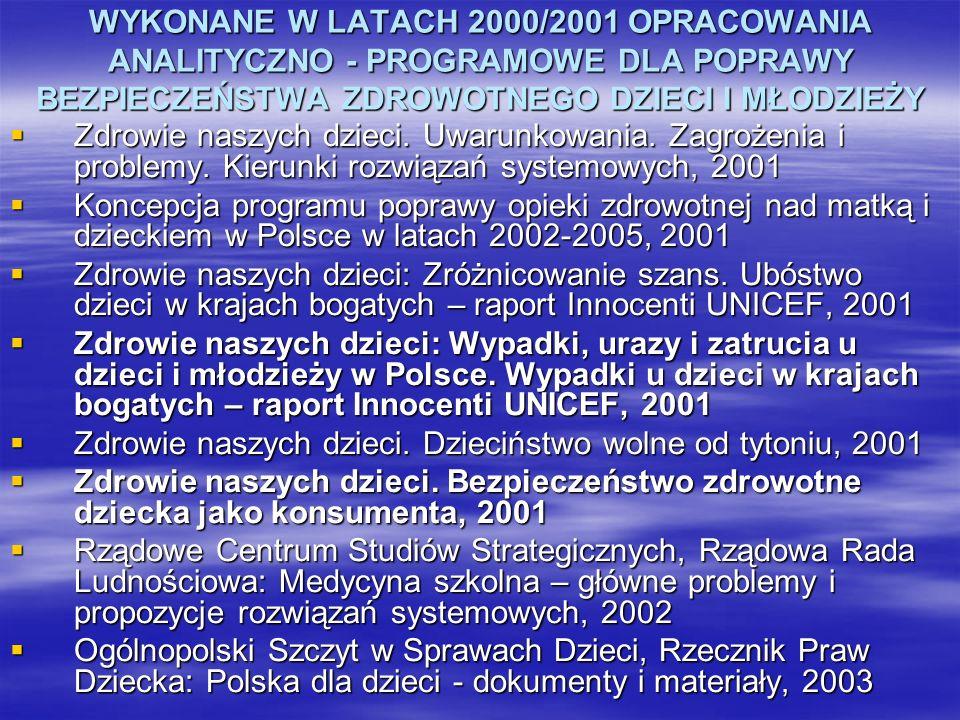 WYKONANE W LATACH 2000/2001 OPRACOWANIA ANALITYCZNO - PROGRAMOWE DLA POPRAWY BEZPIECZEŃSTWA ZDROWOTNEGO DZIECI I MŁODZIEŻY