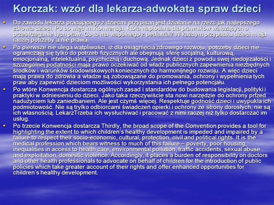 Korczak: wzór dla lekarza-adwokata spraw dzieci