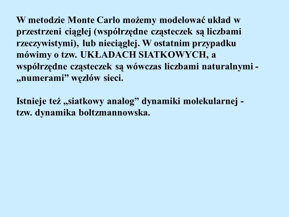 W metodzie Monte Carlo możemy modelować układ w
